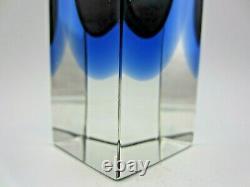 Facette De Bloc De Murano Coupée Murano Bleu Gris Mandruzzato Vase En Verre D'art