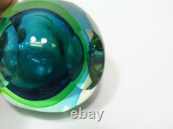 Formia Italien Murano Sommerso Verre Facetté Vase Scent Bouteille Bleu Vert Lourd