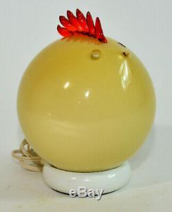 Formia Vetri DI Murano Italien Verre Poulet Jaune Coq Lampe Sculpture