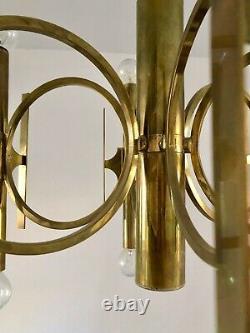 Gaetano Sciolari Brass Chandelier, Mid-century Moderne Italienne, 1960