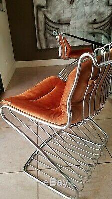 Gaston Rinaldi Pour Rima De Quatre Chaises À Manger En Chrome Made In Italy 1960