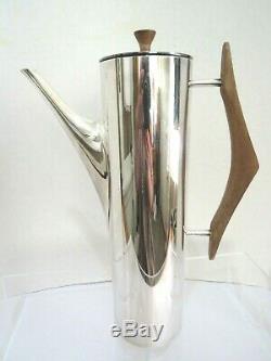 Gio Ponti Milieu Du Siècle Moderne En Métal Argenté Et Teck Coffee Pot