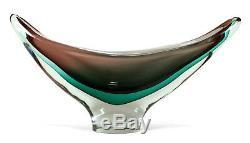 Grand 16,5 Moderniste Vintage Salviati Sommerso Murano Italienne Art Glass Bowl