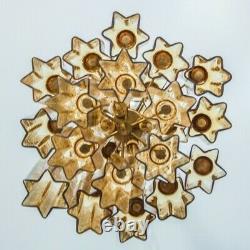 Grand Amber XXL Venini 24 Avec Chandelier Murano Glas Star Shape 1960 Tubes