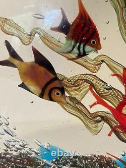 Grand Aquarium De Poissons En Verre D'art De Murano Vintage Avec Sticker Original Méduse