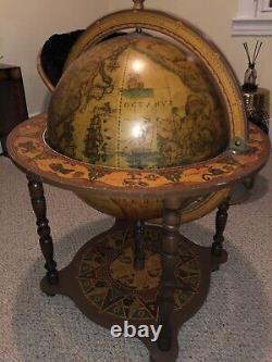 Grand Italien Vintage Globe Cocktail Bar Mid-century World Map Zodiac Signes Art