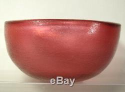 Grand Scarpa 1930 Rouge Corroso Art Glass Bowl Venini Murano Italie -signe