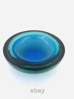 Grand Sculptural Murano Blue Glass Bowl Barbini Sommerso Scandinave