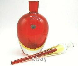 Huge Vintage Cenedese Antonio Da Ros Murano Étiquettes Uranium Sommerso Bouteille En Verre