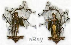 Immense Arp Italie 1950 Rococo Kitsch Cristal Elf Pixie Gilt Mur Sculptures Figure