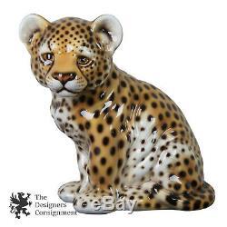 Intrada Cheetah Bébé Cub Statue Céramique Seated Figure Made Italie Afrique Cat 16