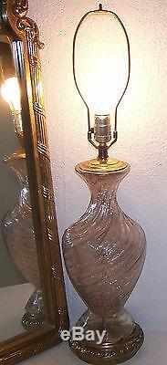 Italien Barovier & Toso Rose Argent Aventurine Lampe Murano Milieu Du Siècle Moderne