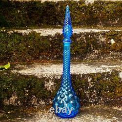 Italien Vintage Empoli Gentian Blue Glass Bubble Texture Genie Bouteille Decanter