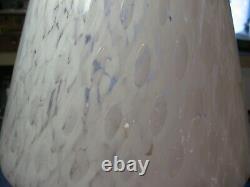 Lampe Champignon De Murano Vtg 1970 15 In. Haut Confettis Texturé Verre Blanc Exc
