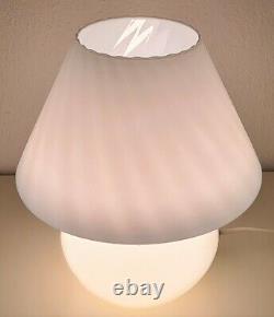 Lampe De Champignon De Murano, Blanc, Pour La Table, Années 70, Made In Italy