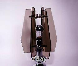 Lampe De Table Vintage Design Italien Milieu Du Siècle 60 Verre Chrome Fontana Arte Veca