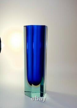 Large 2.3kg 1970s Alessandro Mandruzzato Somerso Murano Visage Vase En Verre D'art