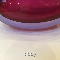Large Murano Glass Flavio Poli Pour Seguso Sommerso Decanter Ruby Néodyme 1963