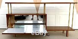 Lit Iconic MID Siècle Brass Mirror Mirror Bar Cabinet Italien Bois D'origine