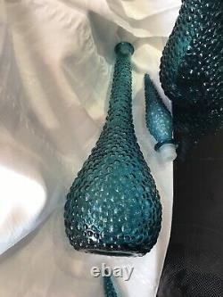 MCM Empoli Rare Vintage Turquoise En Verre Italien Hobnail Genie Bouteille