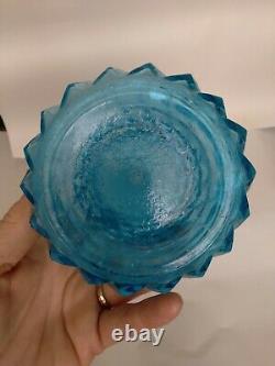 MID Century 22 Italie Empoli Bleu Clair Ananas Diamond Decanter Genie Bouteille