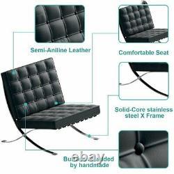 MID Century Barcelona Style Lounge Chair & Ottoman Top Grain Cuir Italien