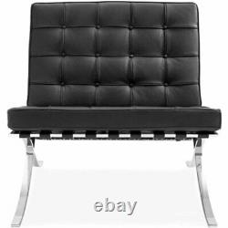MID Century Barcelona Style Lounge Chaise & Ottoman Top Grain Cuir Italien