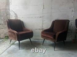MID Century Ensemble Paire Lounge Chaises # Canapé Par Marzo Zanuso Gio Ponti Italie Années 1950