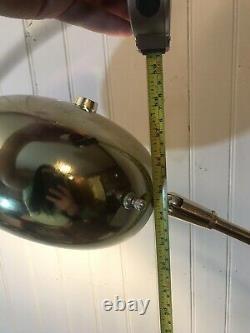 MID Century Medium 59 Brass Arc Floor Lamp Orb Shade White Marble Base Italien