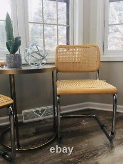 MID Century Modern Cesca Chairs Chrome Dining Marcel Breuer Années 1960 Rare Vintage