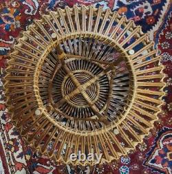 MID Century Modern Franco Albini Large Woven Rattan Table Ottomane