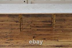 MID Century Modern Long Travertin Marble Faux Bamboo Brass Table De Café Italienne