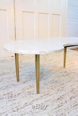 MID Century Modern Marbre Et Laiton Biomorphic / Forme De Rein Table Basse