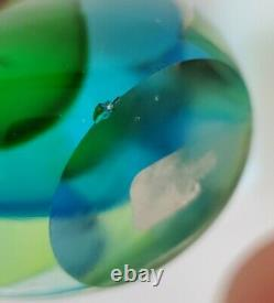 MID Century Modern Murano Seguso Flavio Poli Teardrop Art Verre Vert Bleu Clair