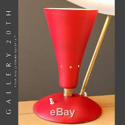MID Century Modern Réflecteur Soucoupe Lampe! Arteluce Atomique Italienne Vtg Rouge 50 Ufo