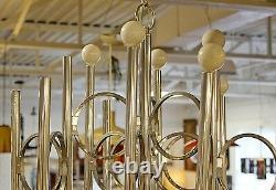MID Century Modern Sciolari 12 Bras Chrome Chandelier Installation Italien 1970s