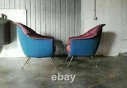 MID Century Set Paire Lounge Chaises & Canapé Veronesi Gio Ponti Italie Années 1950