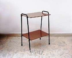 MID Century Table Étagère Unité Vintage Design Italie 1950s 60s Café Bois Métal