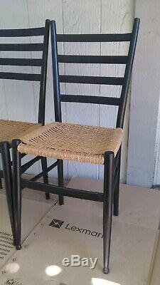 MID Siècle Italienne Moderne Gio Ponti Ladder Retour Corde Seat Chaise Noire Peint