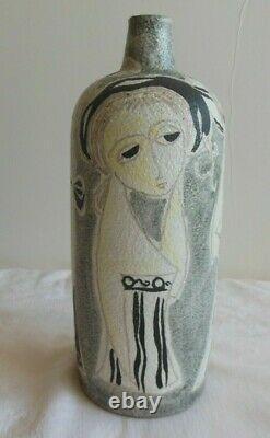 MID Siècle Moderne Marcello Fantoni Pour Raymor Italie Studio Pottery Vase Signé