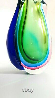 Magnifique Murano De Style Sommerso Multiple Riche En Verre De Couleur Art Vase Décoration Maison