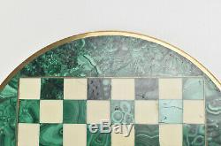 Marbre Italien Malachite White & Brass Marqueté Chess Board MID Century Modern