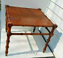 Merveilleux Vintage 1950's Bamboo Tekwood Table D'appoint MCM 18,5 X 15