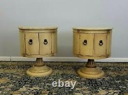 Mid-century Paire Italien Marbre Haut Bois Tambour Tables De Chevet Stands 1960's