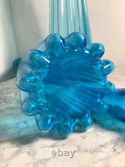 Midcentury Italien Bleu Genie Empoli 28 Décanteur De Bouteille De Grande Taille Avec Bouchon De Flamme