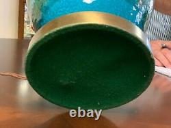 Midcentury Modern Potterie Céramique Vert Bleu Bitossi Italie Lampe De Table Italienne