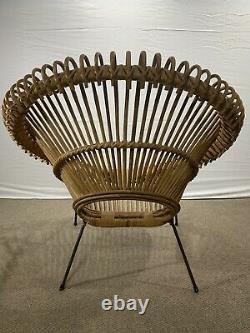Midcentury Rotin Chaise Hoop Dans Le Style D'abraham Ou Albini 1950 Vtg Euc