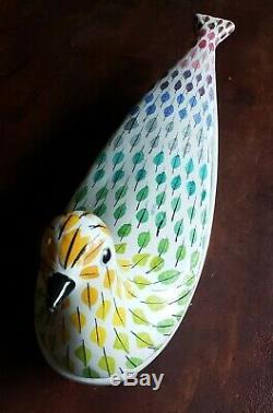 Milieu Du Siècle Italien Bitossi Piume Multicolore Oiseau Plumes Plat Aldo Londi
