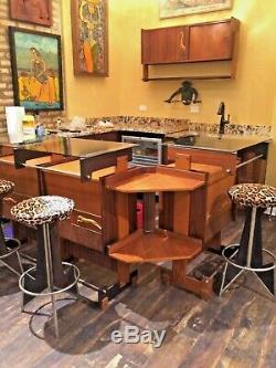 Milieu Du Siècle Moderne 1950 Noyer Italien / Bar Ebony Liquor Cabinet Melchiorre Bega
