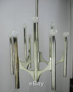 Milieu Du Siècle Moderne Des Années 1960 Chrome Gaetano Sciolari Lustre 9 Lumières Lucite